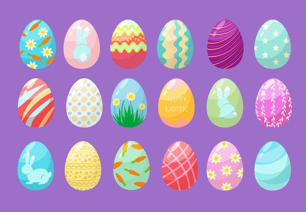 Huevos de colores. feliz celebración de pascua símbolos divertidos huevos decorados gráficos texturizados conjunto.