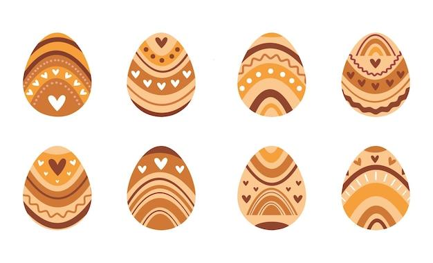Huevos, corazones y arco iris de diseño de concepto de pascua boho