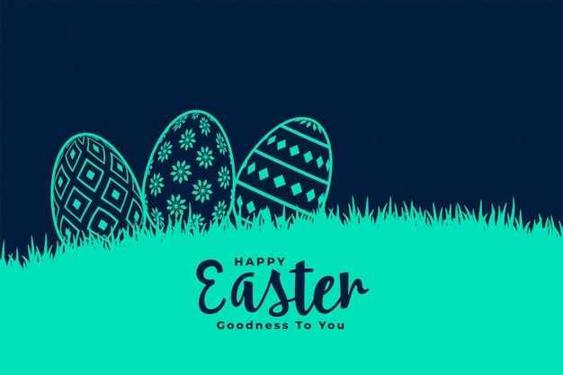 Huevos decorativos en pasto para el festival de pascua