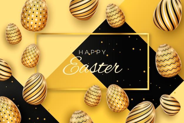 Huevos de diseño dorado para el día de pascua