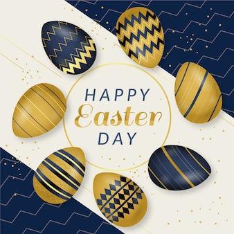 Huevos dorados y negros con diseño para pascua