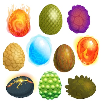 Huevos de dragón vector cáscara de huevo de dibujos animados y colorida ilustración de símbolo de pascua en forma de huevo