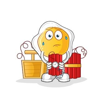 Huevos fritos con carácter de dinamita. mascota de dibujos animados