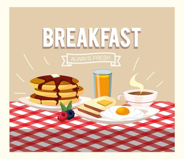 Huevos fritos con panqueques y jugo de naranja.