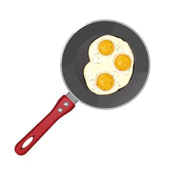 Huevos fritos picantes en sartén de teflón