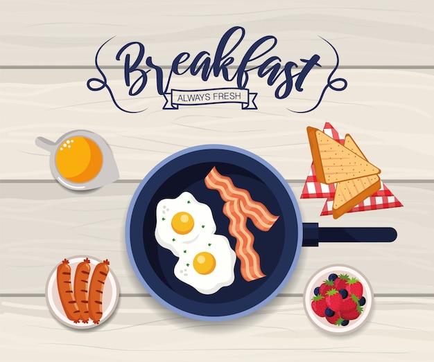 Huevos fritos saludables con pan rebanado