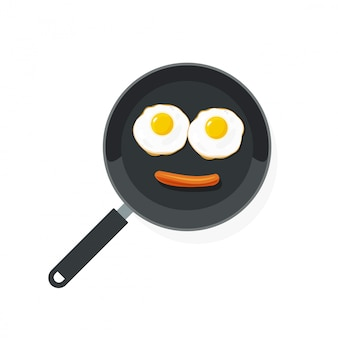 Huevos fritos en sartén con salchicha plana de dibujos animados
