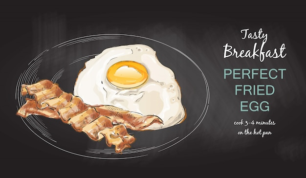 Huevos fritos con tocino