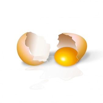 Huevos de gallina agrietados ilustración realista en 3d