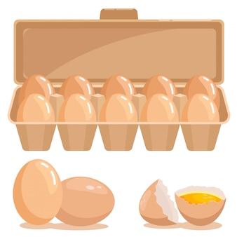 Huevos de gallina en un paquete y huevo roto