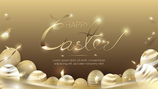 Huevos de oro y confeti para plantilla de feliz pascua