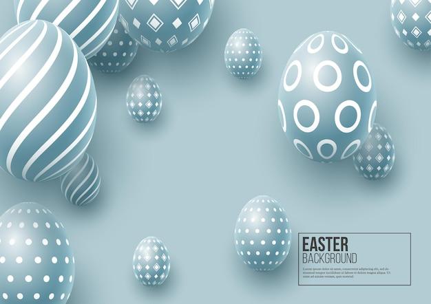 Huevos de pascua azules. huevos decorativos 3d.