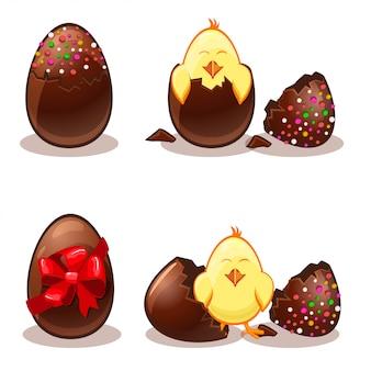 Huevos de pascua de chocolate y chik