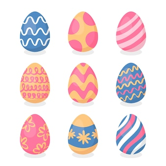 Huevos de pascua con colección de líneas curvas