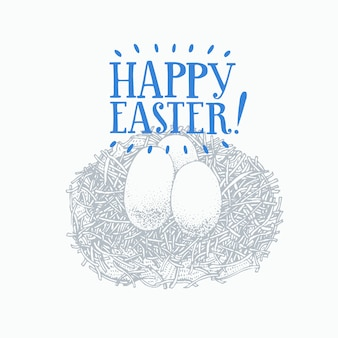 Huevos de pascua dibujados a mano con letras de saludo. ilustración vectorial de primavera estilo retro.