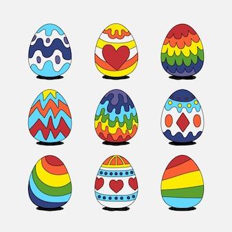 Huevos de pascua dibujados a mano con líneas de colores