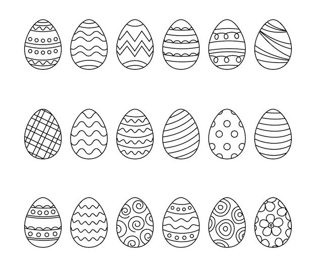 Los huevos de pascua establecen el estilo de dibujo. dibujado a mano feliz pascua aislado sobre fondo blanco.