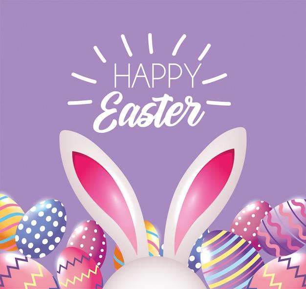 Huevos de pascua felices figuras decoración con conejo de pascua