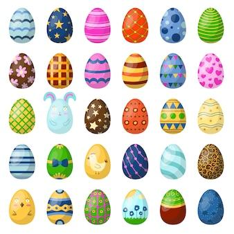 Huevos de pascua pintados con patrón de primavera