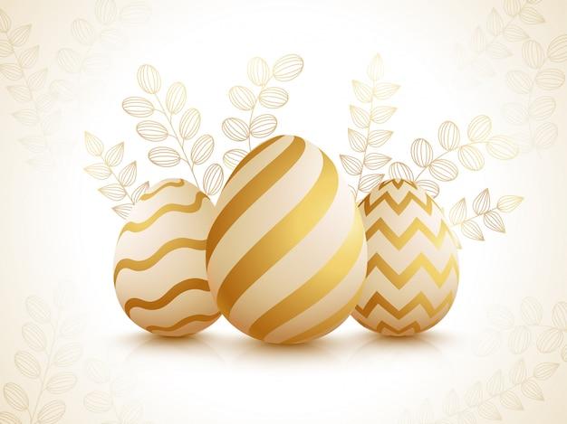 Huevos de pascua realistas en hojas brillantes decoradas.
