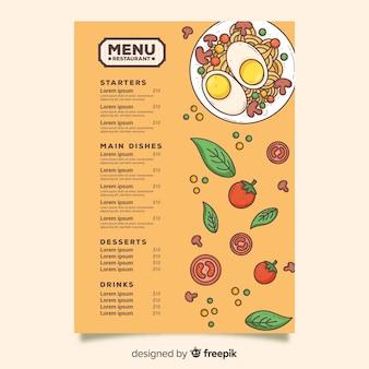 Huevos con plantilla de menú de pasta
