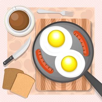 Huevos revueltos con salchichas