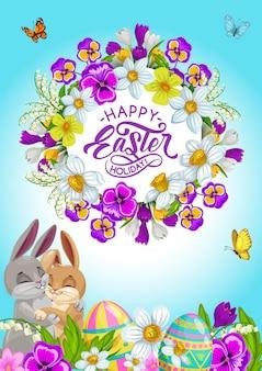 Huevos de vacaciones de pascua, conejitos y flores, tarjeta de felicitación