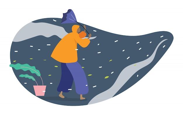 Humano en impermeable caminando con paraguas en mal tiempo