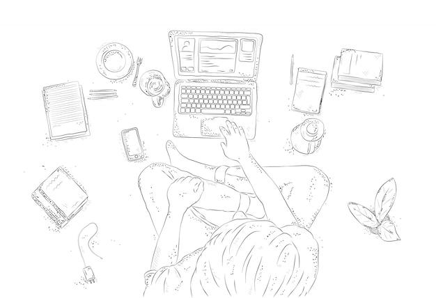Humano con el portátil en casa, sentado en el suelo. ilustración de contorno dibujado a mano, vista superior joven sobre fondo blanco.
