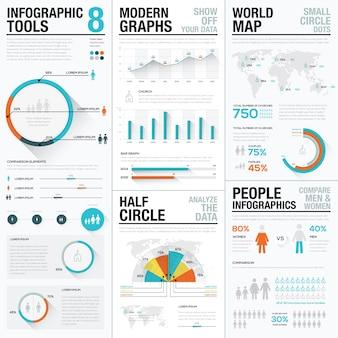 Humanos y personas elementos infográficos vectoriales en color azul y rojo