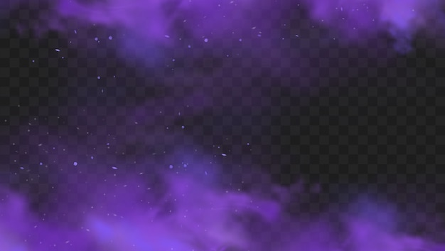 Humo púrpura aislado sobre fondo oscuro transparente. explosión de polvo púrpura abstracto con partículas y brillo. cachimba de humo, gas venenoso, polvo violeta, efecto de niebla. ilustración realista
