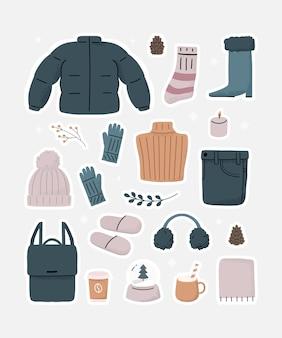 Hygge ropa de invierno esencial elementos adhesivos impresión de arte. vacaciones de objetos acogedores fríos de confort lindo.