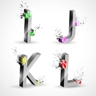 I j k l, letras metálicas con explosiones