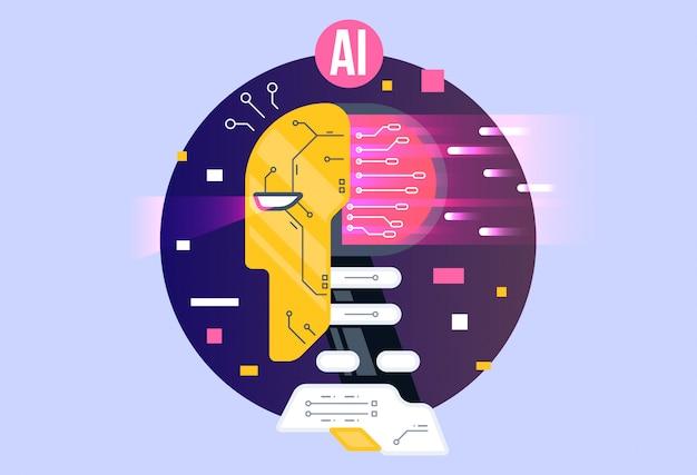 Ia, composición de inteligencia artificial, cerebro con neuronas electrónicas.