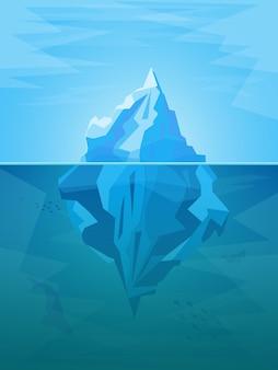 Iceberg de dibujos animados en el océano con estilo de diseño plano de parte submarina