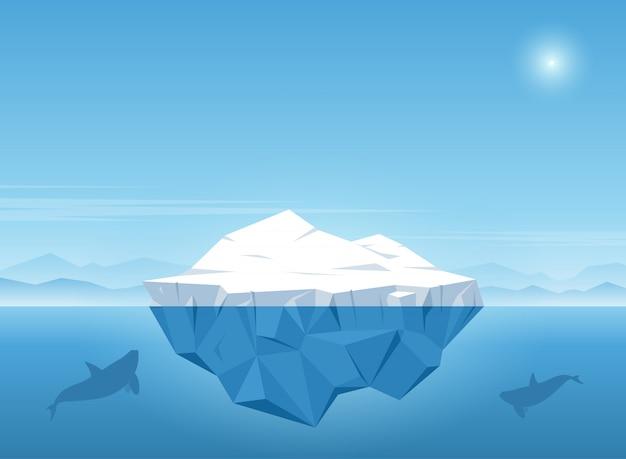 Iceberg flotando en el océano azul con la ballena nada bajo el iceberg. ilustración vectorial
