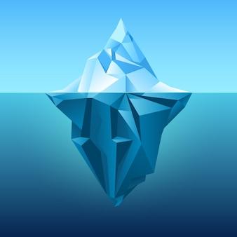 Iceberg en fondo azul del vector del océano