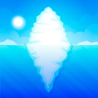 Iceberg en ilustración de vector de agua de mar