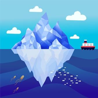 Iceberg ilustrado en el océano.
