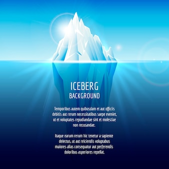 Iceberg realista sobre el agua. paisaje antártico, naturaleza océano, nieve y hielo.