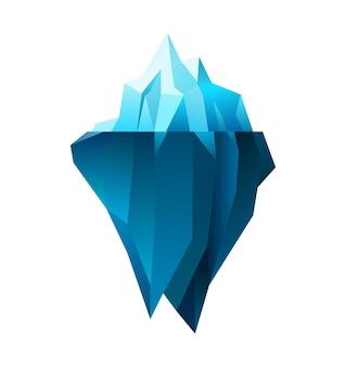 Iceberg sobre fondo blanco, ilustración poligonal