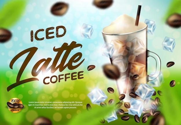 Iced arabica coffee latte promo anuncio banner, bebida