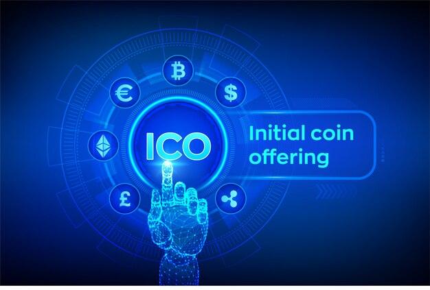 Ico oferta inicial de monedas. criptomoneda y comercio electrónico global. fintech, comercio financiero en pantalla virtual. mano robótica conmovedora interfaz digital. ilustración.