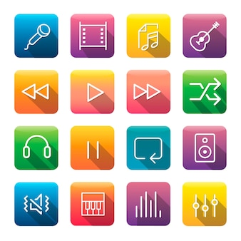Icon collection music media concept