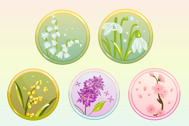 Icon flower set con lila, lily, snowdrop, sakura y mimosa