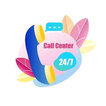 Icon handset call center servicio al cliente 24/7