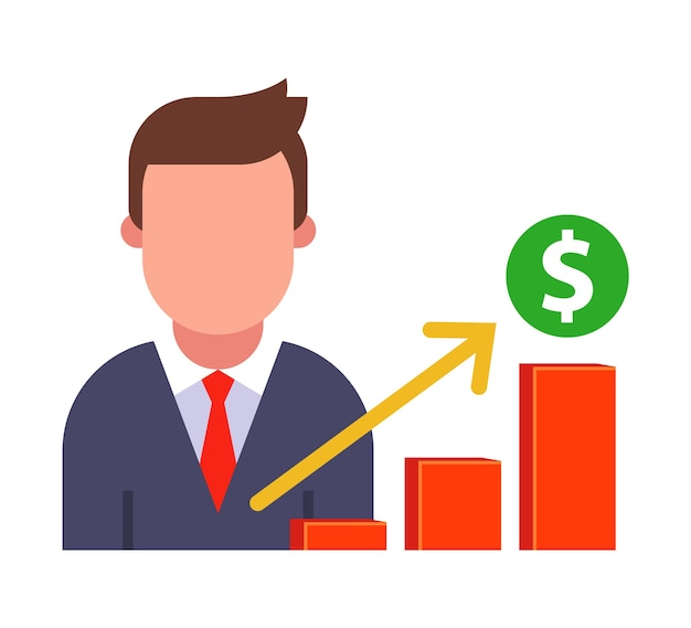 Icon man hace un informe sobre el crecimiento de las ventas. ilustración de personaje plano.