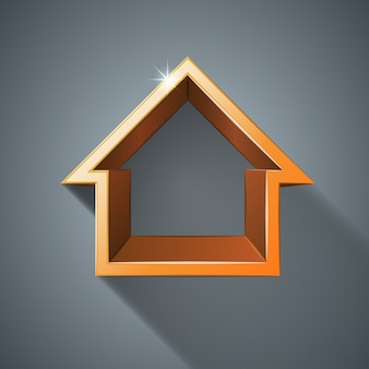 Icono 3d abstracto de la casa amarilla.