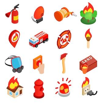 Icono 3d isométrico de bombero
