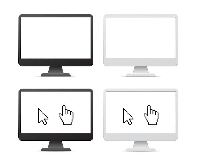 Icono 3d de monitor de computadora de pantalla en blanco